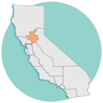 graphic image of california, Sacramento region