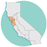 graphic image of california, San Francisco Bay area region
