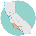 graphic image of california, Central Coast Region