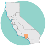 graphic image of California, Los Angeles county region