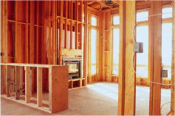 Photo of the inside of a house under construction